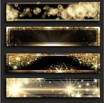 Złoty połysk poziome pionowe banery