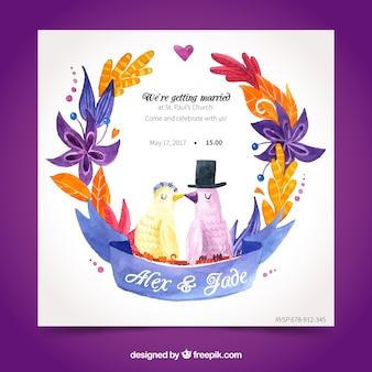Zabawa zaproszenia ślubne akwarela