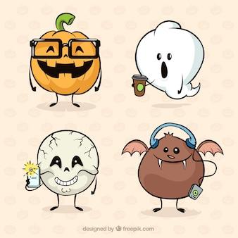 Zabawna kolekcja halloween z ręcznie narysowanego stylu
