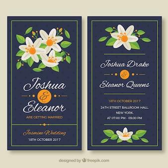 Zabawne karty weselne z kwiatami jaśminu