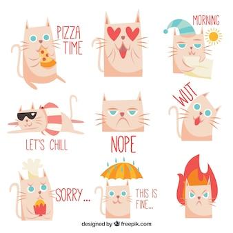 Zabawne naklejki z pięknym kotem