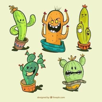 Zabawny zestaw kaktusów