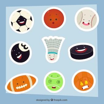 Zabawny zestaw naklejek sportowych