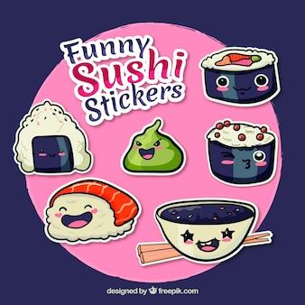 Zabawny zestaw naklejek sushi