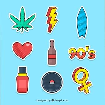 Zabawny zestaw naklejek z pop-artu