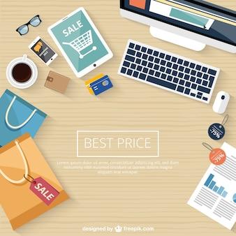 Zakupy sprzedaży online w tle