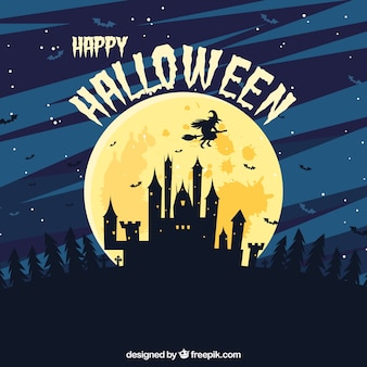 Zamek tła z księżyca i latania czarownica