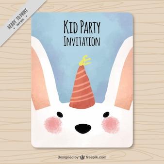 Zaproszenie Akwarela z cute królików