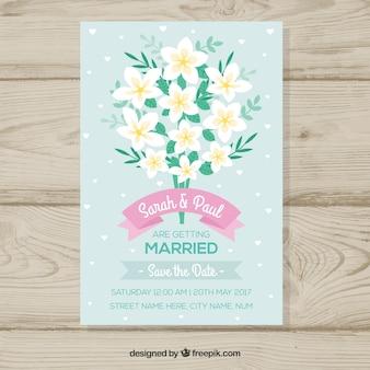 Zaproszenie na ślub z bukietem jaśminu