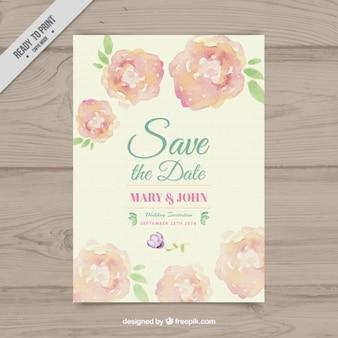 Zaproszenie na ślub z kwiatów akwarela