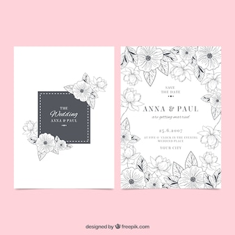 Zaproszenie na ślub z szkicami kwiatu