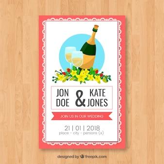 Zaproszenie na wesel z szampanem