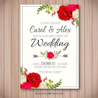 Zaproszenie na wesele z kwiatami akwarela