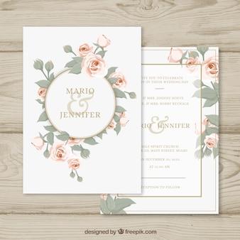 Zaproszenie na wesele z kwiatowym okręgu