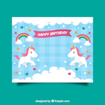 Zaproszenie urodzinowe z jednorożca, chmur i serc