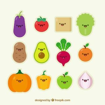 Zbiór warzyw ładnym charakterem