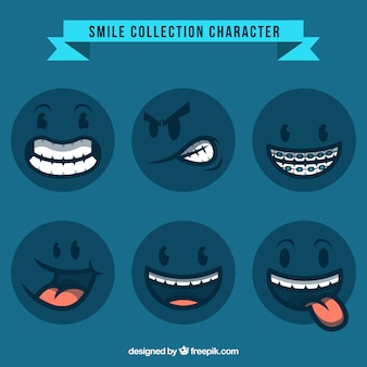 Zbiór znaków niebieski uśmiech