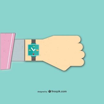 Zegarek na rękę punktualność wektora