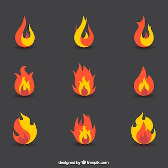 Zestaw abstrakcyjnych płomieni