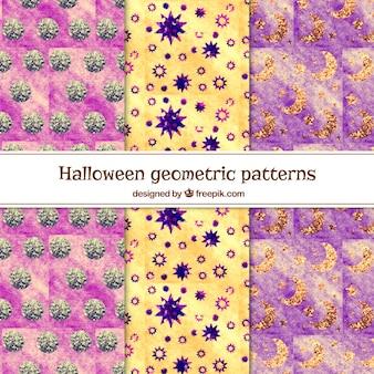 Zestaw abstrakcyjnych wzorów geometrycznych akwarela