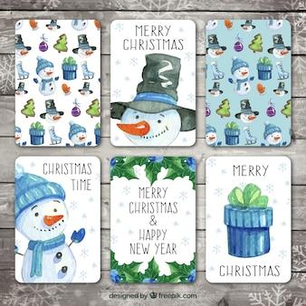Zestaw akwareli piękne kartki świąteczne