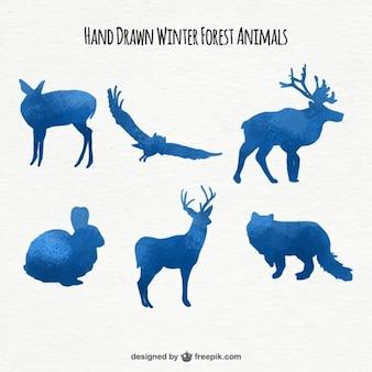 Zestaw akwareli zwierzęcych koloru niebieskiego sylwetki