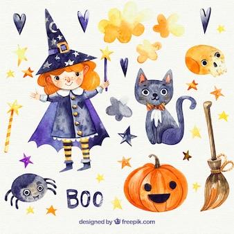 Zestaw akwarelowy halloween elementów