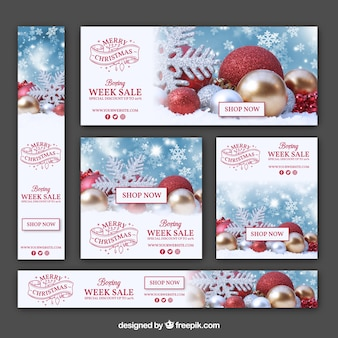 Zestaw banerów sprzedaży Boże Narodzenie