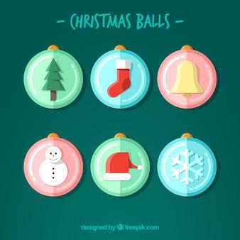Zestaw christmas kulki z elementami w płaskim stylu