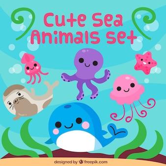 Zestaw cute zwierząt morskich