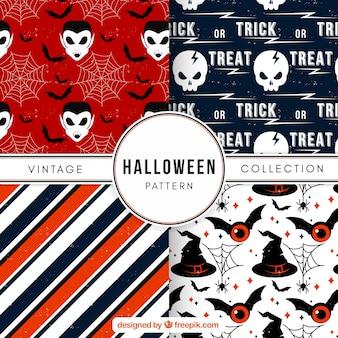 Zestaw czterech halloween wzorców
