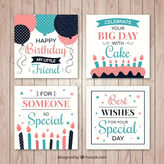 Zestaw czterech kart urodzinowych ze świecami i balonów