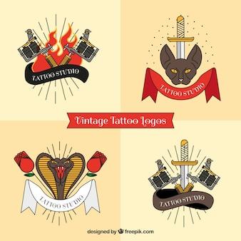 Zestaw czterech logo tatuaż studio