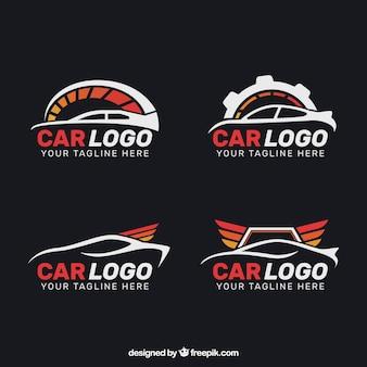 Zestaw czterech płaskich logo samochodów z czerwonymi elementami