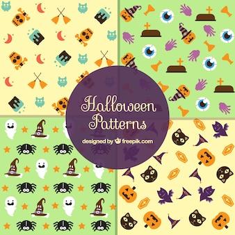 Zestaw czterech wzorów elementy halloween w płaskim stylu