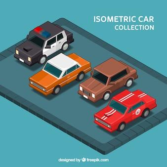 Zestaw czterech zabytkowych samochodów w stylu izometrycznym