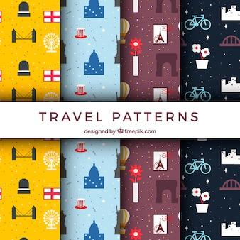 Zestaw dekoracyjnych wzorów podróży w płaskim stylu