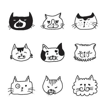 Zestaw doodle głowy kotów