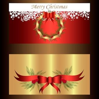Zestaw dwóch oddzielnych banerów na Boże Narodzenie i Nowy Rok z wieńcem i wstążkami