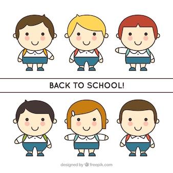 Zestaw dzieci ręcznie pociągnięty do szkoły