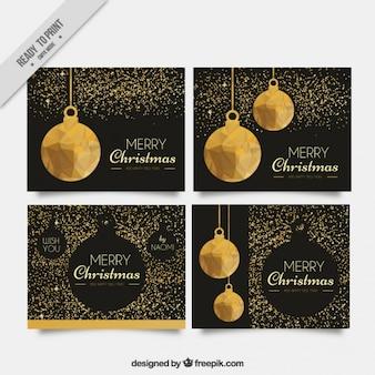 Zestaw eleganckich kartki świąteczne ze złotym brokatem