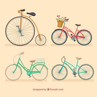 Zestaw eleganckich rowerów zabytkowych