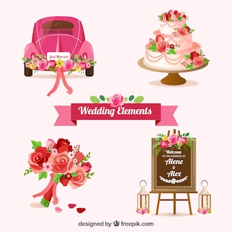 Zestaw elementów ślubu z pięknymi kwiatami