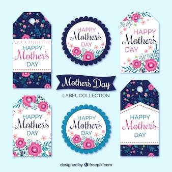 Zestaw etykiet dzień matki z kolorowymi kwiatami