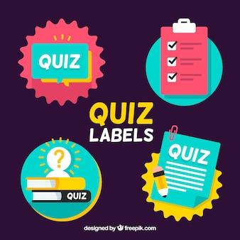 Zestaw etykiet płaskie quizu