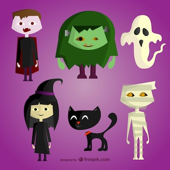 Zestaw halloween cartoon znaków