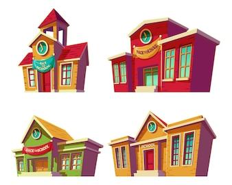 Zestaw ilustracji wektorowych cartoon różnych kolorowych instytucji edukacyjnych, szkół.