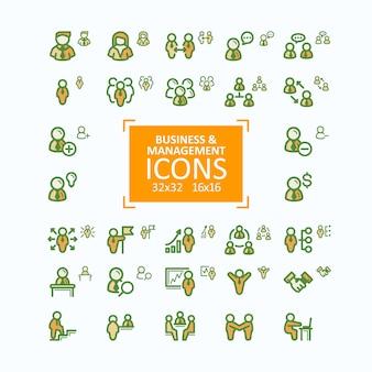Zestaw ilustracji wektorowych grzywny ikony linii, zbiór ikon ludzi biznesu, zarządzanie personelem