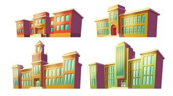 Zestaw ilustracji wektorowych kreskówek różnych kolorach stare, retro instytucje edukacyjne, szkoły.