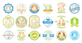 Zestaw ilustracji wektorowych, odznaki, naklejki, etykiety, znaczki dla mleka i produktów mleczarskich